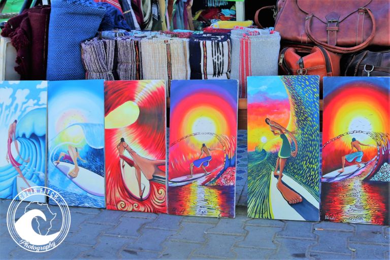 Painting of Surfers, Taghazout, Morocco