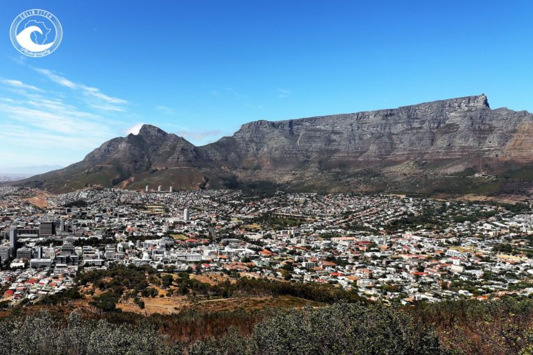 Table Mountain from the Sognal Hil Canon, Cape Town.