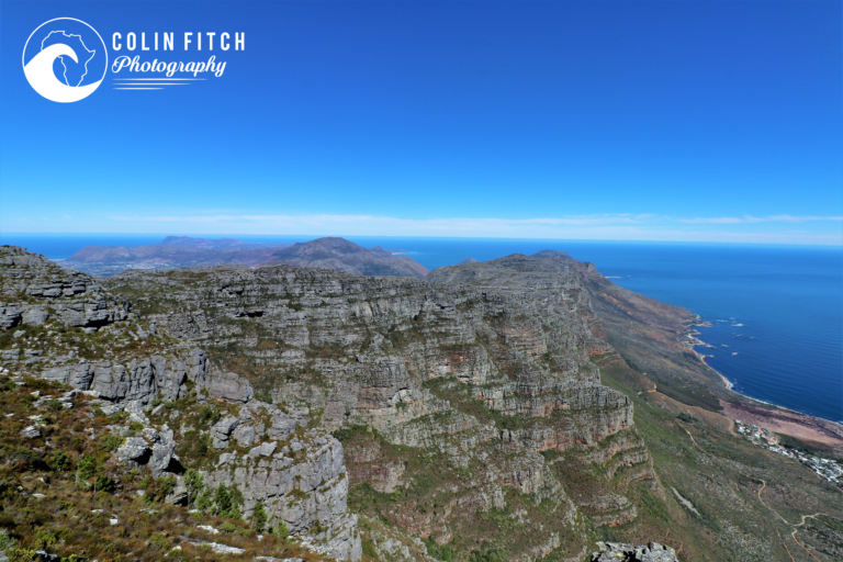 A view towards the peninsular from the top  of Table Mountain, Cape Town.